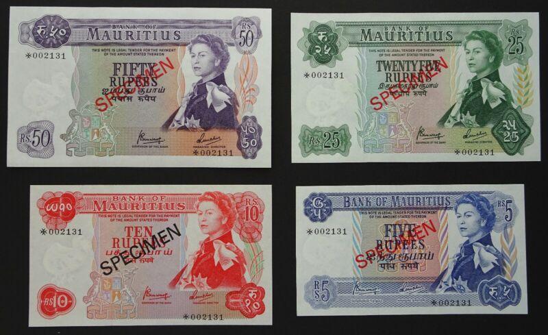 Mauritius 1978 Banknotes Specimen Set. 5, 10, 25 & 50 Rupees, Unc. Genuine.