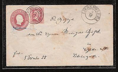 Preussen 1 Sgr. rot Mi 6 als Zfr. auf Ganzsache von Liebenwerda 5.12.1858