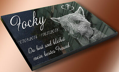Ihr Foto -- Grabstein Tierurne Grabplatte Hund Katze Granit Grab 30x20cm