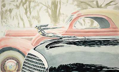 "Cadillac ""Glass Caddy Ornament"" watercolor 40""X60"""