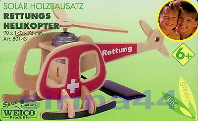 "3D-Puzzle Holzbausatz ""Rettungshelikopter"" Rettungshubschrauber 9x14x7,5cm ab 6J"