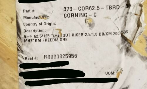 Corning 006K8F-31130-29 Freedm One 6-Fiber Tight Buffer Riser In/Out Black/250ft