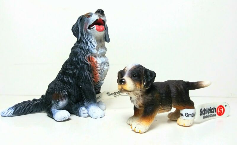 Vintage 1998 Schleich Sitting Bernese Mountain Dog & Puppy Figurines with Tags