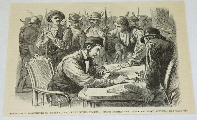 1886 magazine engraving ~ GREAT RAILROAD STRIKE, West Virginia