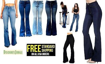 Wax Jeans Womens Vintage High Waist Flared Bell Bottom Light Denim 70s Pants NEW