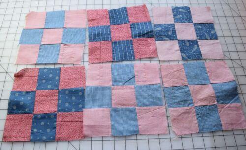 9350 6 Antique 1880-1910s  9 Patch quilt block, cadet blue, double pink