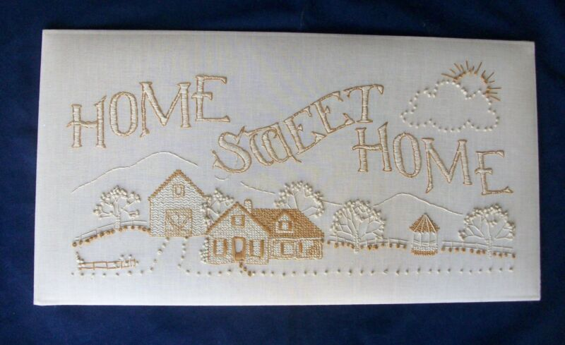 Home Sweet Home Hand Embroidered Linen Finished Ready To Frame Or Make Pillow