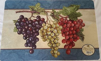 Set of 4 Kitchen Decor Vinyl / Foam Back Placemats, 3 TYPES of GRAPES by BH](Types Of Decoration)
