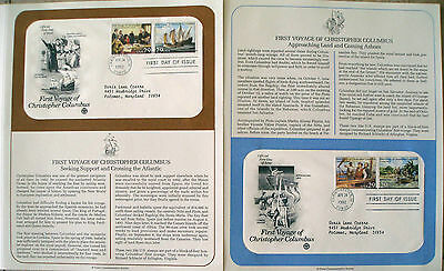 Postal Society 2 FDC's Stamp # 2620-2623 29 cent First Voyage of Columbus 1992