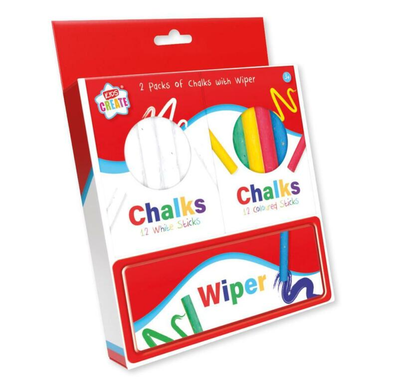 Pack+of+12+White+and+12+Colured+Chalks+With+Wiper+by+Kidz+Create