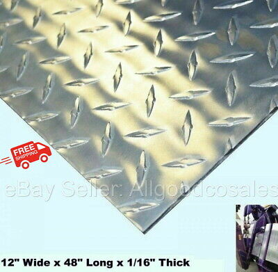 Aluminum Polished Diamond Plate 12 Wide X 48 Long X 116 Thick Alloy 3003