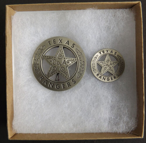 Texas Ranger Badge & Lapel Pin Set, Peso Back, Company A, Old West, Western