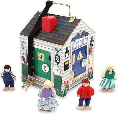 Melissa & Doug DOORBELL HOUSE Child Puppets Dolls Pretend Play w/ Keys BN