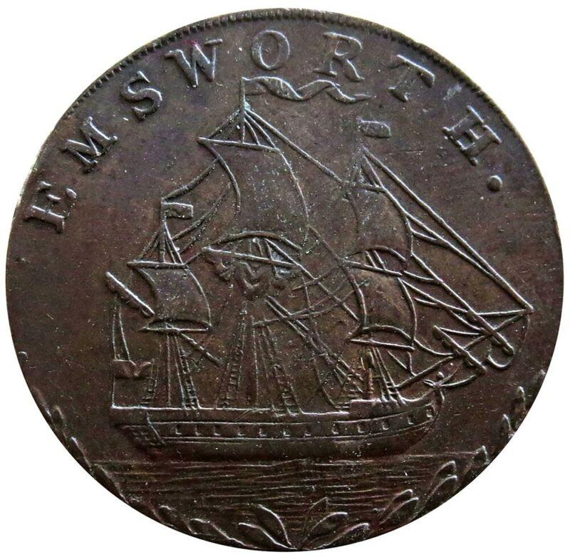 1793 GB HAMPSHIRE 1/2 PENNY JOHN STRIDE EMSWORTH SHIP MERCHANT TOKEN D&H 9
