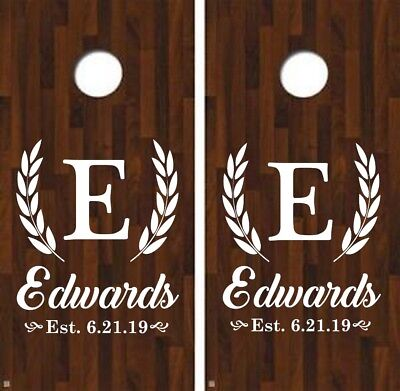 Corn Hole Game Diy (Cornhole Decals Name Initial date Outdoor Party DIY Custom Wedding Backyard)
