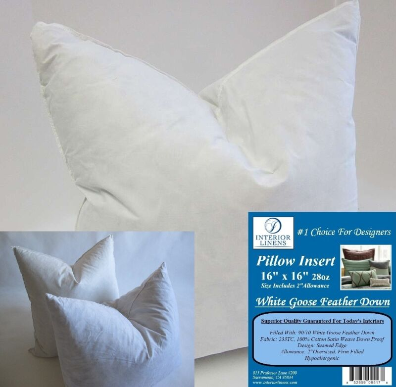 "2 - 16""x16"" 28oz. Pillow Insert: White Goose Down - 2"" Oversized & Firm Filled"