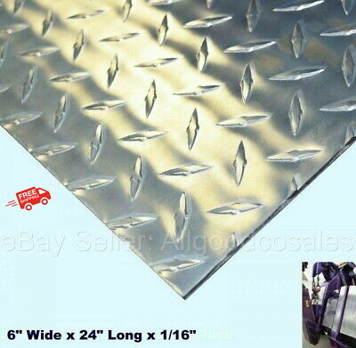 Aluminum Polished Diamond Plate 6 Wide X 24 Long X 116 Thick Alloy Type 3003