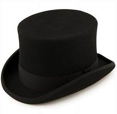 Express Hats Quality Wool Felt Top Hat 5 inch Crown Height (Satin Lined)