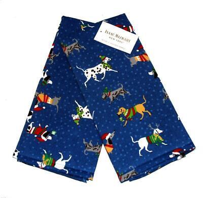 2 Isaac Mizrahi Christmas Dogs Polka Dots Royal Blue Pique K