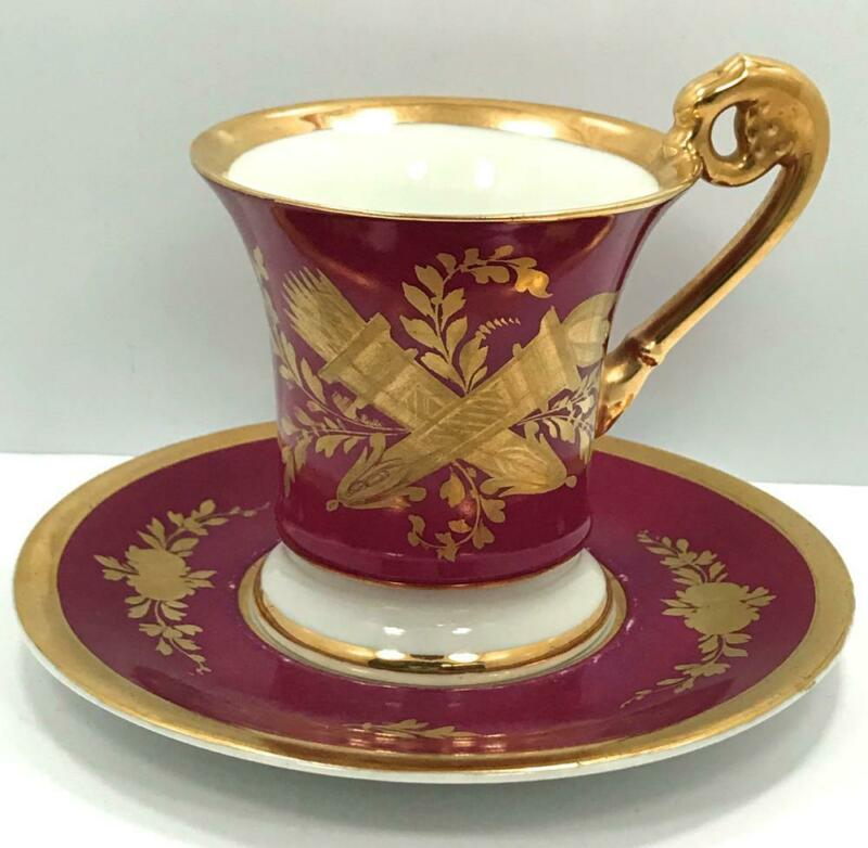 Mid 19th Century Sevres Porcelain Magenta And Gold Crossed Quiver & Torch