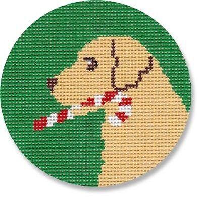 (Needlepoint Handpainted Christmas LAURA MEGROZ Dog Candy Cane LAB Ornament )
