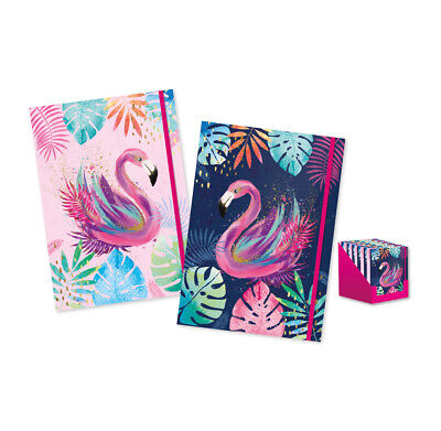 A4 Flamingo Notebook Casebound Ruled Lined Pages Elastic Journal Book Pad CTLN