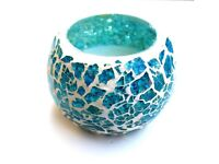 White & Turquoise Crackle Glass Mosaic Tea Light Holder