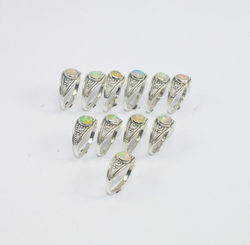 Wholesale11PC925 Solid Sterling Silver NATURAL ETHIOPIAN OPAL RING Lot GTC017 W5