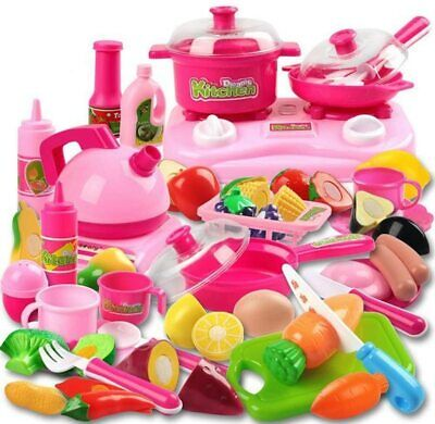 42 Piece Kitchen Cooking Set Fruit Vegetable Tea Playset Toy for Kids Play Food