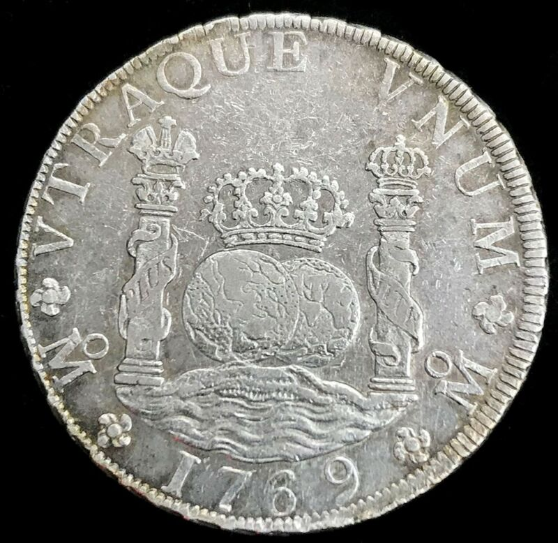 1769 MF MO SILVER MEXICO 8 REALES PILLAR DOLLAR CHARLES III MEXICO CITY MINT
