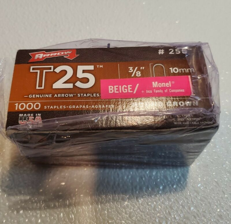 """4 boxes of-#256 Arrow T25 Round Crown Staples BEIGE 3/8"""" 10mm Boxes of 1000"""