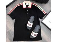 Gucci cotton Polo With Gucci Stripe Black All Sizes Available