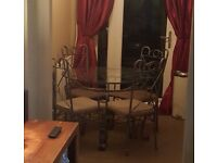 Glass dining table n chairs