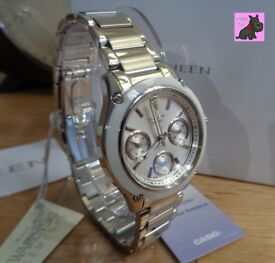 Casio SHE-3502D-7AER Ladies 'Sheen' Silver Chronograph Watch. NEW - RRP £175