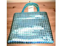 Lovely Suzi Smith vintage aluminium chainmail light blue evening handbag