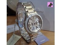 Casio SHE-3502D-7AER Ladies 'Sheen' Silver Bracelet Watch with Swarovski Elements NEW - RRP: £175