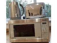 Microwave, kettle and toaster - stainless steel