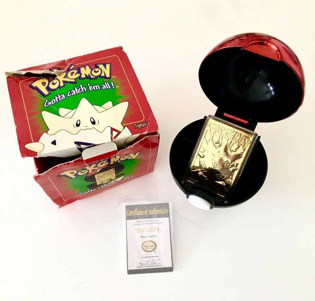 RARE Limited Edition Togepi 24 Carat Gold Plated Playing Card with pokeball, certificate and box