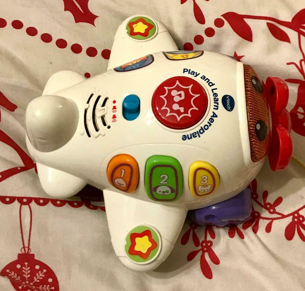 9178d0ee3 Vtech Play And Learn Aeroplane Electronic Toy Lights Sounds Pull ...