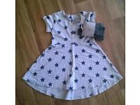 NEW Next Grey Dress With Footless Tights. 2-3 Years.