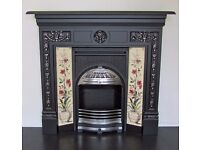 Victorian Style Cast Iron Tiled Fireplace Refurbished