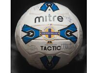 Northern Ireland First Team Squad Signed Autographed Mitre Tactic Football RARE