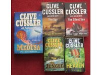 CLIVE CUSSLER, five books in good condition, titles in description, smoke and pet free home.