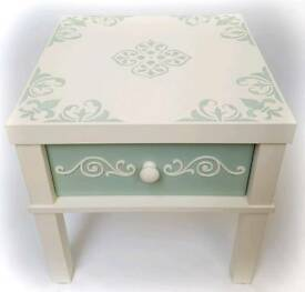 Upcycled cream & sage side table