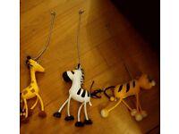 3 Bouncy Spring Animals Giraffe/Zebra/Tiger Hanging Room Decoration Soft Toys Kids Bedroom/Playroom