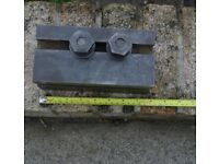 CAST IRON MACHINING BLOCK WITH X 2 HOLDING DOWN BOLTS SEE PHOTOGRAPHS