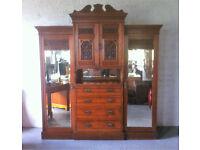 Edwardian Breakfront Carved Oak Compactum/Wardrobe
