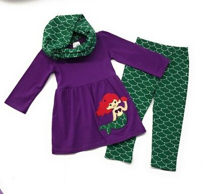 Baby Toddler Girls Mermaid Scarf Boutique Outfit Tunic Leggings Kids Clothing