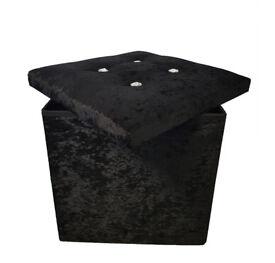 Brand New Black Crushed Velvet Diamante Single Folding Storage Ottoman Seat Toys Box Pouffee Stool