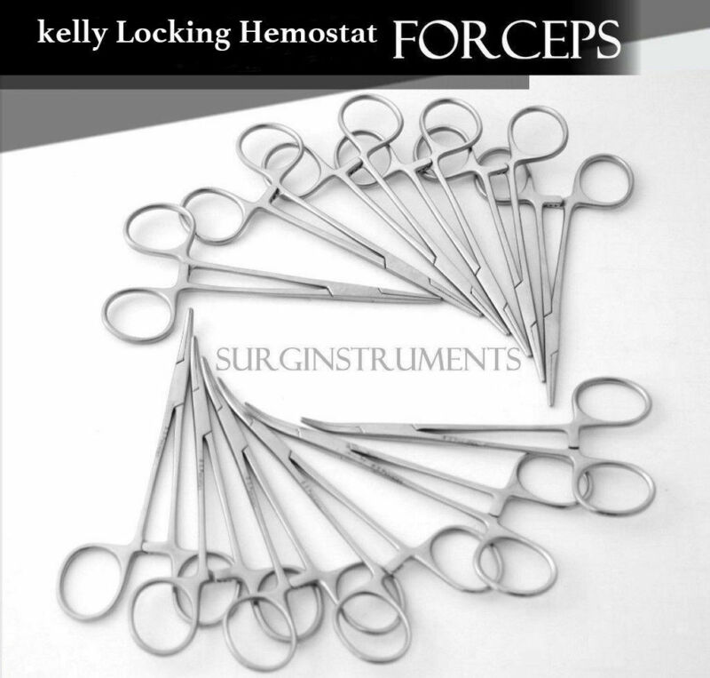 """10 Pcs Assorted Kelly Hemostat Forceps 5.5"""" Straight & Curved"""